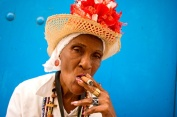 Old Woman Smoking A Cuban Cigar. Havana. Cuba